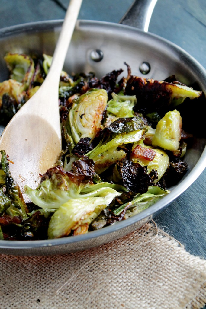 Roasted Brussels Sprouts with Bacon ~ Diethood.com