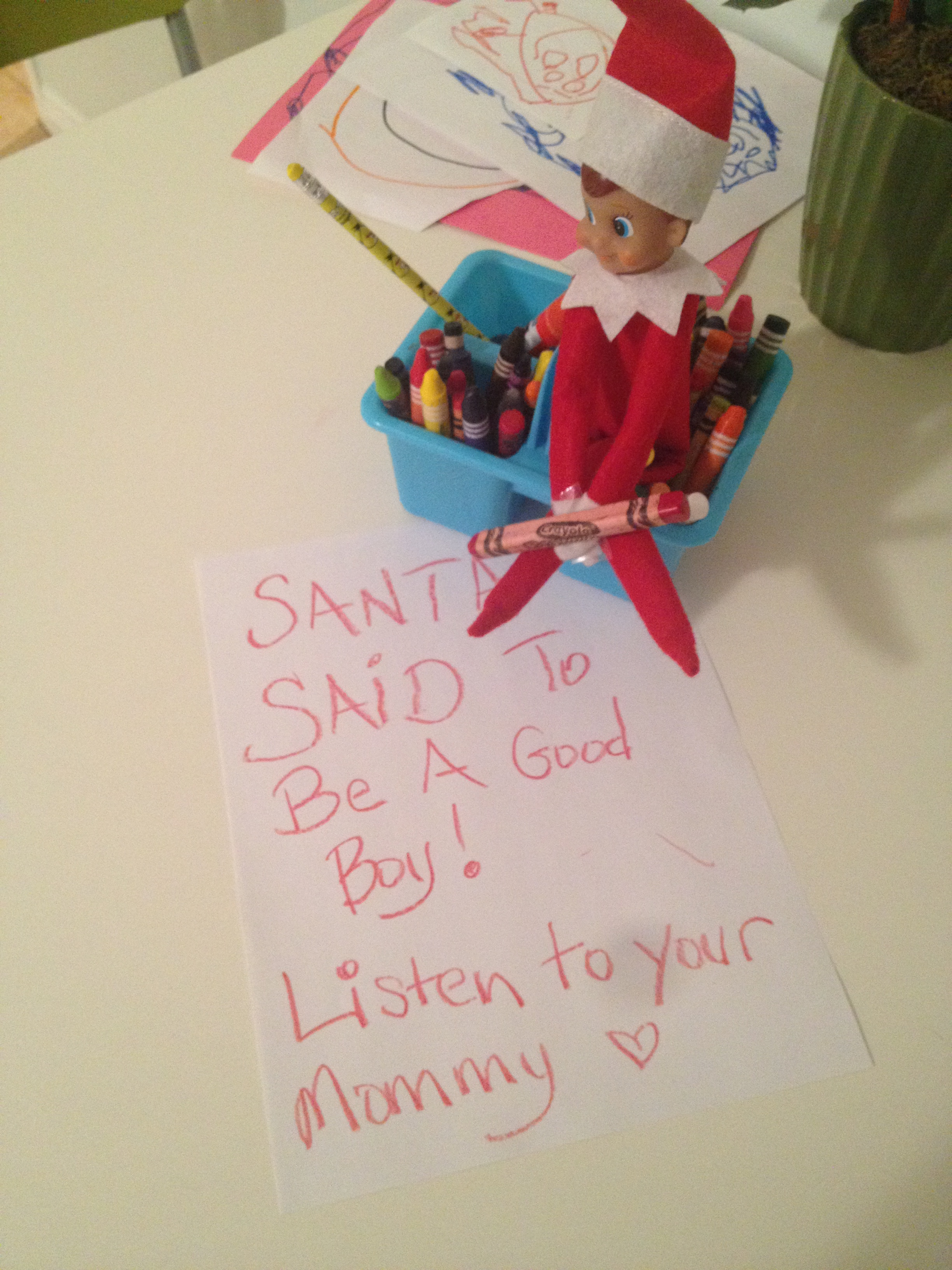 The boy the fairly good mother for Elf on the shelf pooping on cookies
